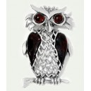 CHERRY COLOUR BALTIC AMBER & STERLING SILVER OWL PENDANT