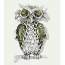 GREEN BALTIC AMBER & STERLING SILVER OWL PENDANT