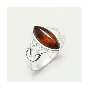 BALTIC AMBER & SILVER CELTIC RING