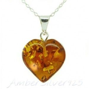Baltic Amber Heart Silver Prendant with Silver Chain