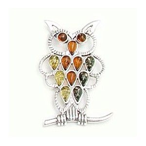 BALTIC AMBER & STERLING SILVER OWL PENDANT